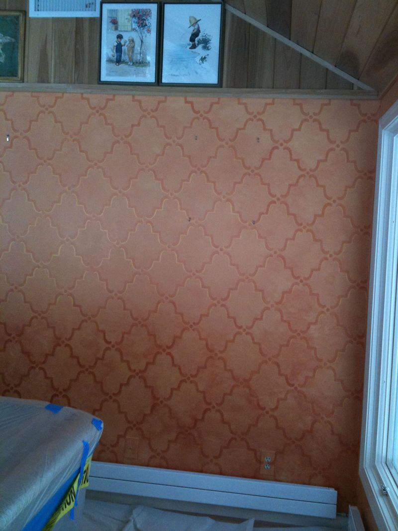 Stencil completed right of door