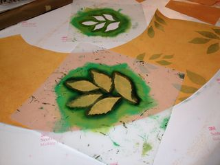 Stenciling leaves